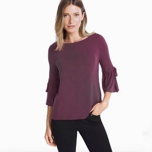 WHBM TIE-SLEEVE TEE in Plum Small